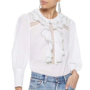 NWT SANDRO Raoule ruffled cotton-voile blouse